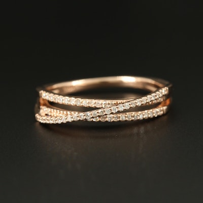 14K Rose Gold Diamond Crossover Band