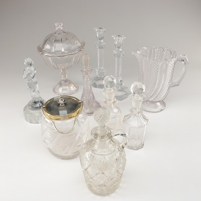 Ainsworth Crystal Biscuit Jar and Other Pressed Glass Table Accessories