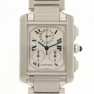 Cartier Chronograph Stainless Steel Wristwatch With Date