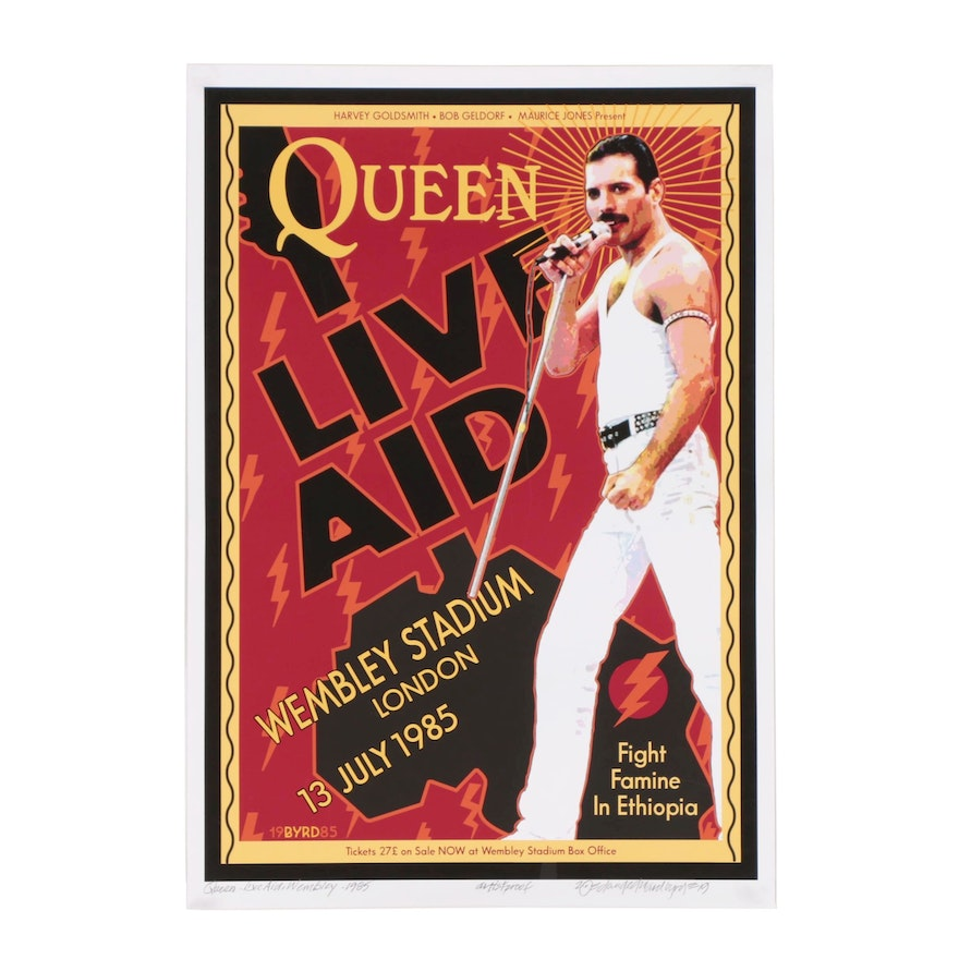 "David Edward Byrd Giclée ""Queen & Freddie Mercury at Live Aid London 1985"""