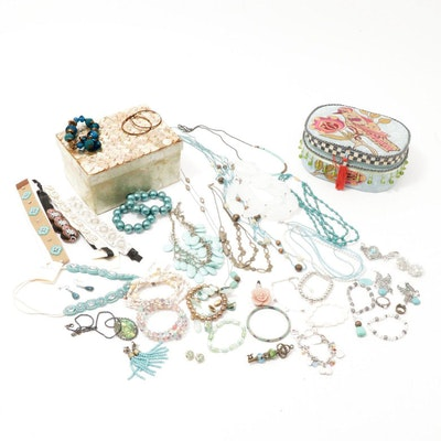 Capiz Shell and Embroidered Jewelry Boxes with Beaded Jewelry Assortment
