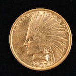 A 1907 Indian Head $10 Gold Eagle, No Motto Variety