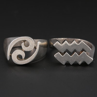 Sterling Silver Aquarius and Cancer Rings