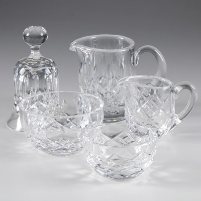 "Waterford Crystal ""Lismore"" Creamer and Open Sugar Bowl and More"