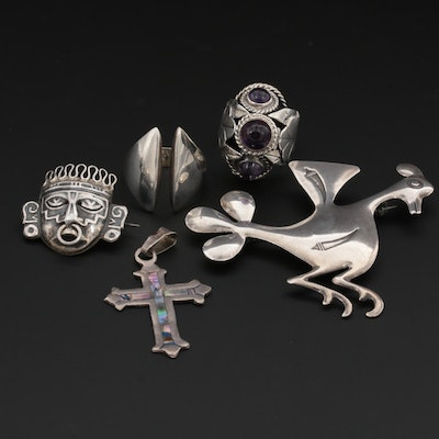 Mexican Sterling Brooches, Rings and Pendants Featuring Los Ballesteros