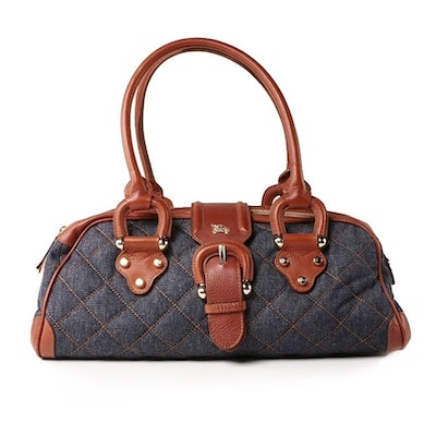 Burberry Audrey Baguette in Quilted Denim and Brown Pebbled Leather