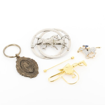 Equestrian Brooches and Key Chain Including Rhinestone Racing Horse Brooch