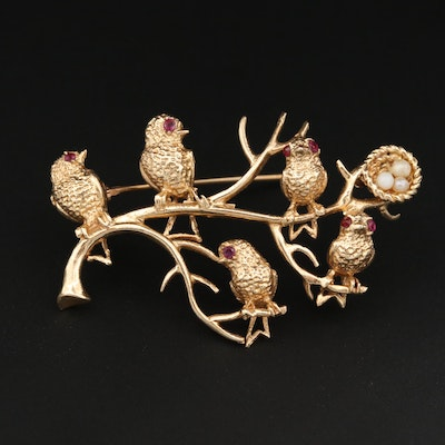 Vintage 14K Yellow Gold Glass Brooch with Birds on a Branch Motif