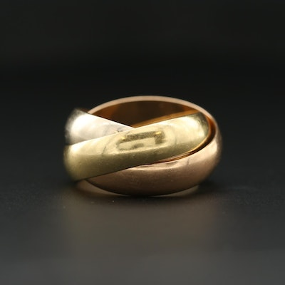 """18K Yellow, White and Rose Gold Cartier """"Trinity"""" Ring"""