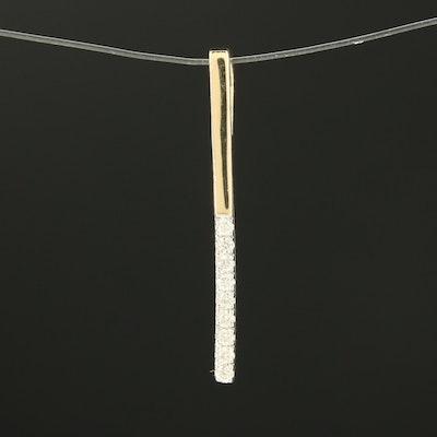 14K Yellow Gold Diamond Vertical Bar Pendant