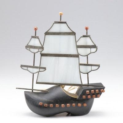 Flying Dutchman Slag Glass Ship Light, Mid-Century