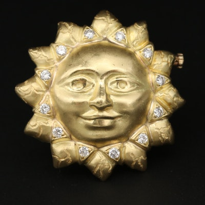 18K Yellow Gold Diamond Sun Brooch