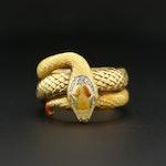 Masriera 18K Yellow Gold, Diamond, Plique-á-Jour Enamel Snake ring
