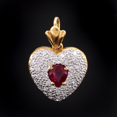 18K Yellow Gold Diamond and Ruby Heart Pendant