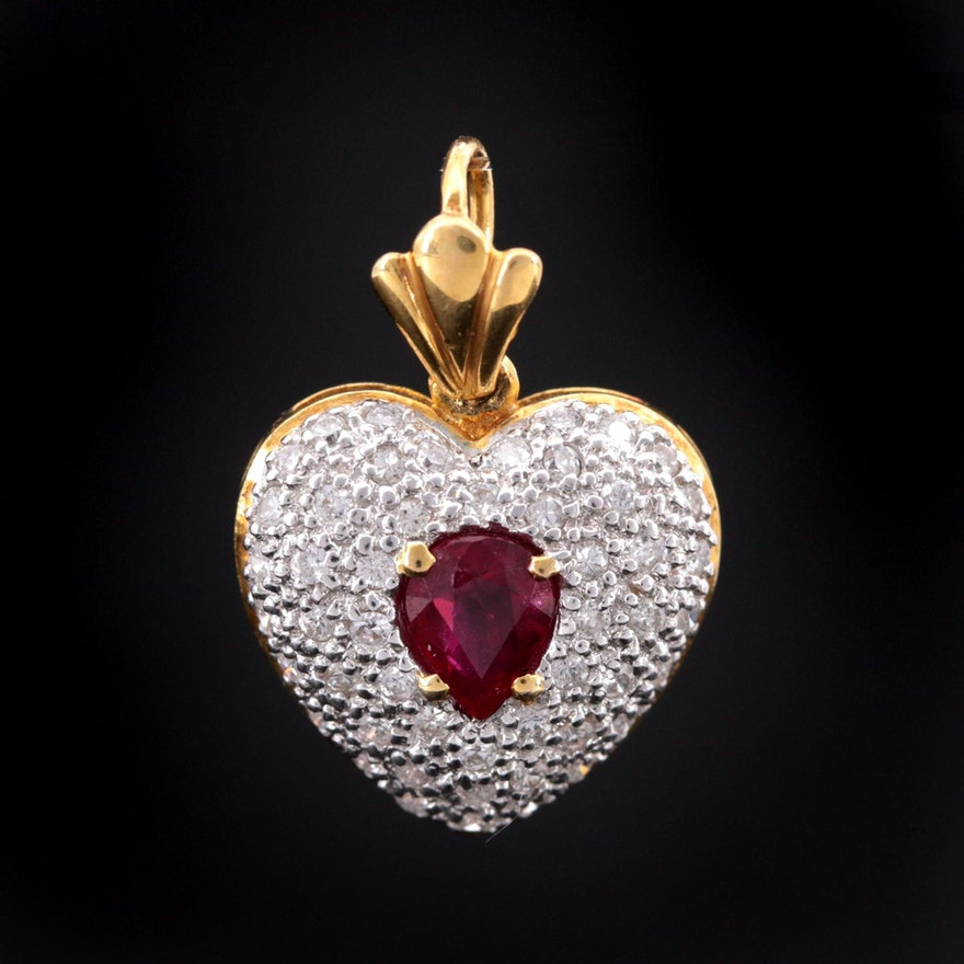 18K Yellow Gold Diamond and Ruby Heart Pendant