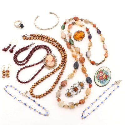 Assorted Garnet, Agate and Mother of Pearl Jewelry Including Sterling Silver