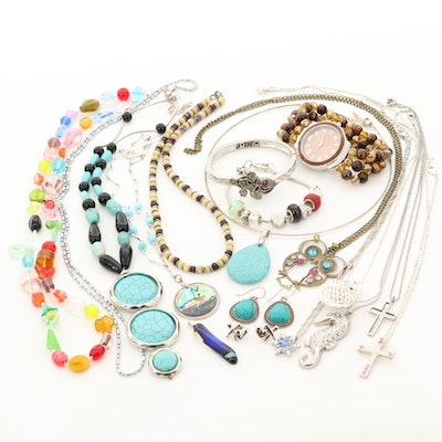 Jewelry Assortment Featuring Tiger's Eye, Quartz, Howlite and Abalone