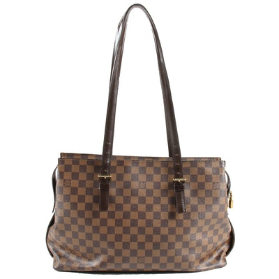 Louis Vuitton Chelsea Tote in Damier Ebene Coated Canvas and Brown Leather