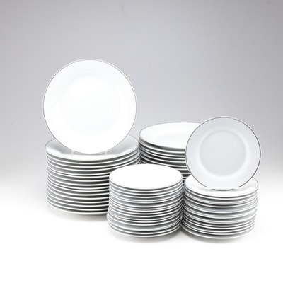 Porcelain Dinnerware with Silver Tone Rims, Contemporary