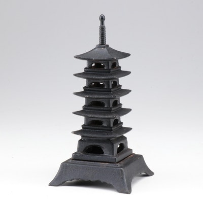 Cast Iron Pagoda Incense Holder, Vintage