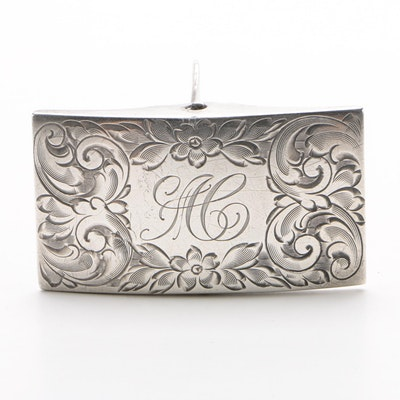 Foster & Bailey Engraved Sterling Silver Belt Buckle with Monogram