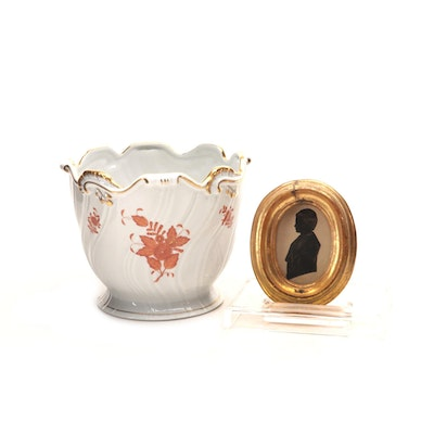 "Herend ""Chinese Bouquet"" Ceramic Cache Pot with Giltwood Framed Silhouette"