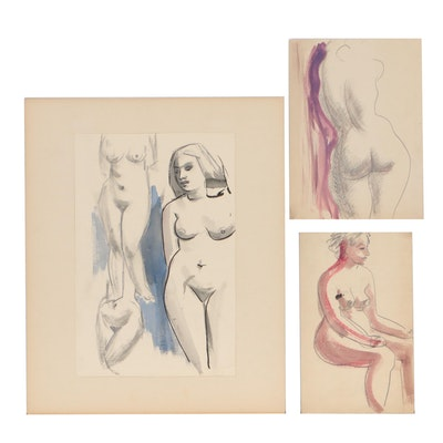 Thomas Eldred Mixed Media Figure Drawings