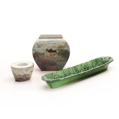 """Goebel """"Claude Monet"""" Vase and Votive Holder With Ceramic Olive Tray"""
