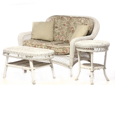 Painted Woven Rope Patio Love Seat and Wicker Side Tables, Mid-20th Century