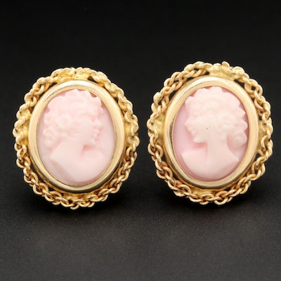 14K Yellow Gold Conch Shell Cameo Earrings