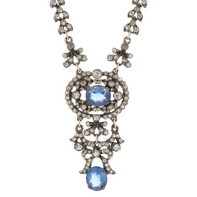 Vintage Glass and Rhinestone Leaf Motif Necklace