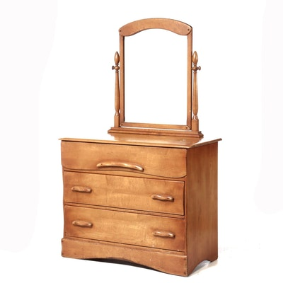 Maple Chest of Drawers with Mirror, Mid-20th Century