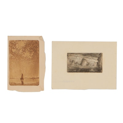 Robert Whitmore Miniature Landscape Etchings, Mid 20th Century
