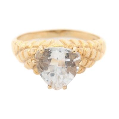 10K Yellow Gold Rock Crystal Ring