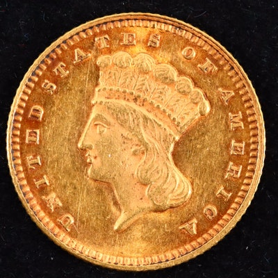 An 1873 Indian Princess Head Type III Gold Dollar