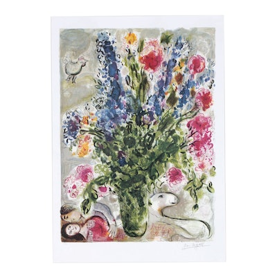 "Offset Lithograph after Marc Chagall ""Les Lupins Bleu"""
