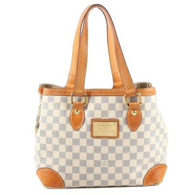 Louis Vuitton Hampstead Shoulder Bag in Damier Azur Canvas and Vachetta Leather