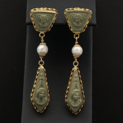 18K Yellow Gold Lava and Cultured Pearl Cameo Earrings