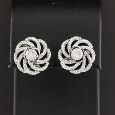 18K White Gold 1.16 CTW Diamond Button Earrings