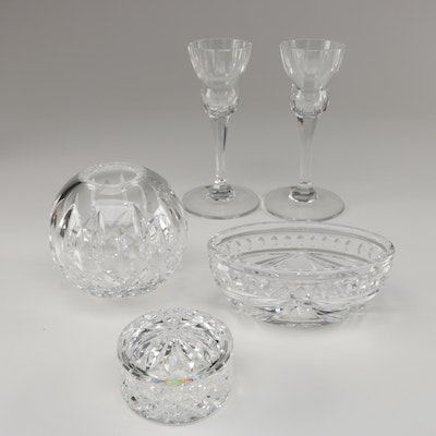 """Waterford Crystal """"Lismore"""" Rose Bowl with Round Trinket Box and More"""