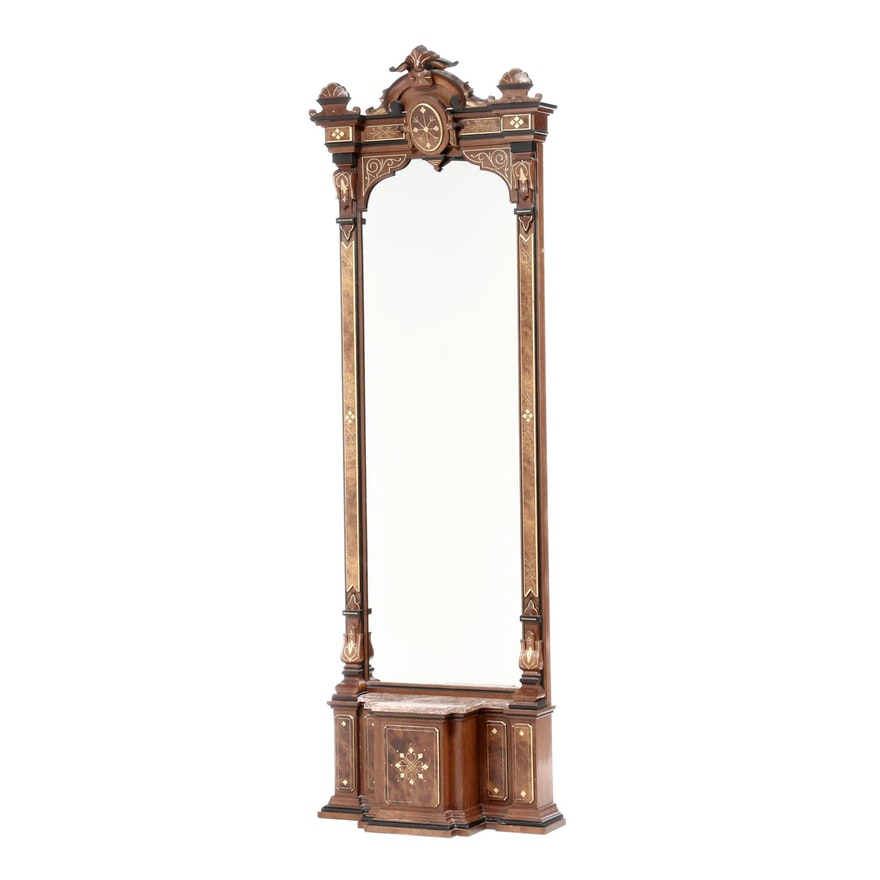 Victorian Eastlake Walnut Pier Mirror, Late 19th Century