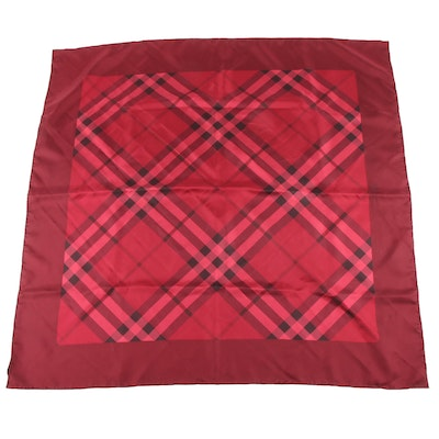 Burberry Berry and Burgundy Plaid Silk Scarf