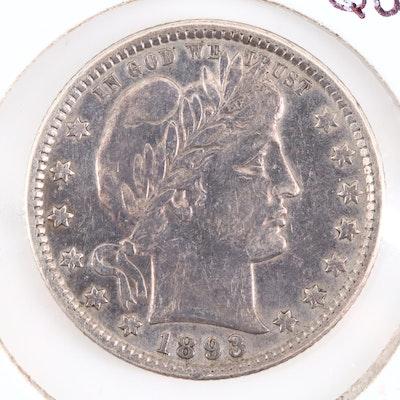 An 1893-O Barber Silver Quarter