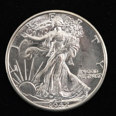 A 1942 Walking Liberty Silver Half Dollar