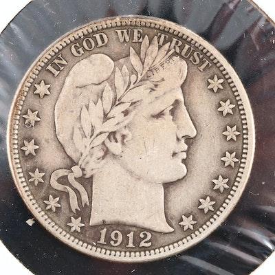 A 1912 Barber Silver Half Dollar