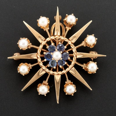 Vintage 14K Gold Cultured Pearl and Blue Sapphire Starburst Converter Brooch