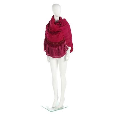 Tao by Comme des Garçons Fuchsia Wool Blend Ruffle Accent Wrap