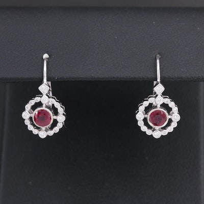 18K White Gold Ruby and Diamond Compass Earrings