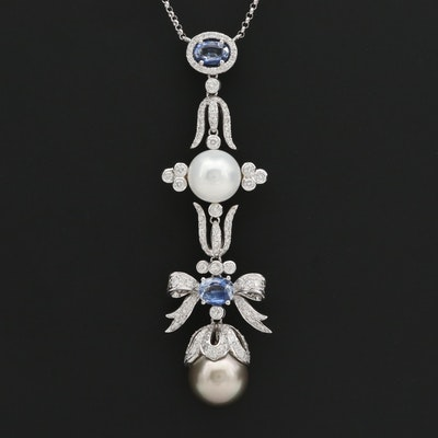 14K White Gold Cultured Pearl, Blue Sapphire and 1.81 CTW Diamond Necklace