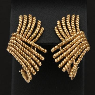 "Schlumberger for Tiffany & Co. 18K Yellow Gold ""V"" Rope Earrings"
